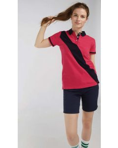 Diagonal Stripe Ladies Polo Shirt